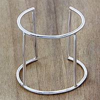 Silver plated cuff bracelet, 'Epic' - Wide Cuff Bracelet Crafted in Silver Plated Brass in Bali