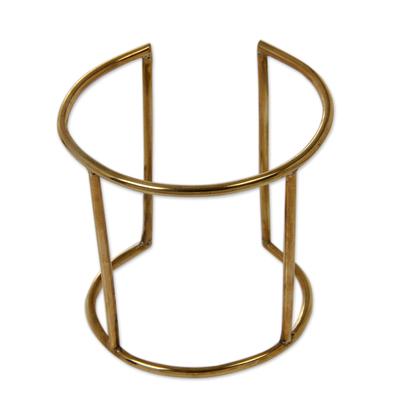 Artisan Crafted Brass Jewelry Wide Cuff Bracelet
