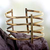 Brass cuff bracelet, 'Tribal Urban' - Wide Cuff Bracelet Crafted by Hand of Brass in Bali