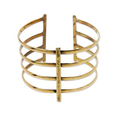 Wide Cuff Bracelet Crafted by Hand of Brass in Bali