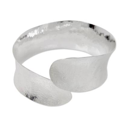 Bangle Bracelet Crafted by Hand with Silver Plated Brass