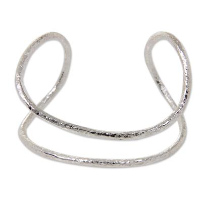Artisan Crafted Silver Plated Brass Bracelet Modern Cuff
