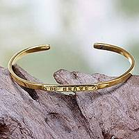 Brass cuff bracelet, 'Be Brave' - Antiqued Brass Cuff Bracelet with Be Brave Message