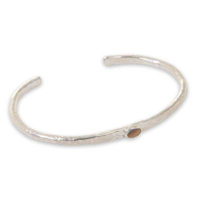 Sterling Silver Plated Cuff Bracelet with Tiger