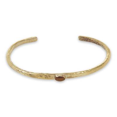 Rustic Finish Brass Cuff Bracelet with Tiger