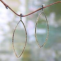 Brass dangle earrings, 'Sunkissed Leaves' - Brass Leaf Shaped Earrings from Balinese Jewelry Artisan