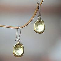 Brass dangle earrings, 'Rustic Pebbles' - Artisan Crafted Brass Hook Earrings Handcrafted in Bali