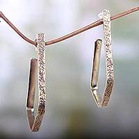 Brass half hoop earrings, 'Empower' - Textured Brass Half Hoop Earrings Hand Crafted in Bali