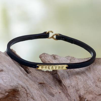 Leather wristband bracelet, 'Breathe' - Engraved Brass on Slender Leather Wristband Bracelet