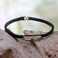 Leather wristband bracelet, 'Balance'
