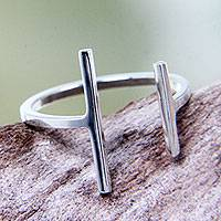 Silver plated wrap ring, 'Parallel Destiny' - Silver Plated Stylish Modern Wrap Ring Hand Crafted in Bali