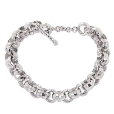 Artisan Crafted Sterling Silver Chain Bracelet from Bali