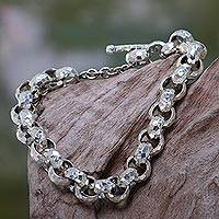 Sterling silver chain bracelet, 'Morning Light'