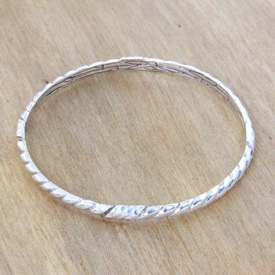 Sterling silver bangle bracelet, 'Connect' - Fair Trade Sterling Silver Bangle Hand Crafted Bracelet