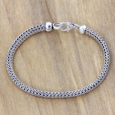 Sterling silver chain bracelet, 'Naga Champion' - Sterling Silver Chain Bracelet Fair Trade Bali Jewelry