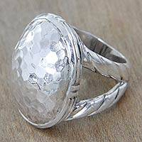 Sterling silver dome ring, 'Plateau'