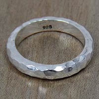 Sterling silver band ring, 'Silver Mosaic'