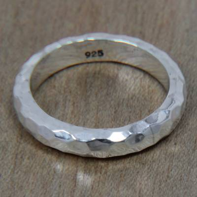 Sterling silver band ring, 'Silver Mosaic' - Handcrafted Balinese Sterling Silver Band Ring
