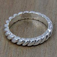 Sterling silver band ring, 'Halo Rope' - Artisan Crafted Balinese Sterling Silver Band Ring