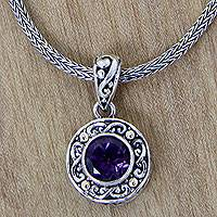 Gold accent amethyst pendant necklace, 'Deep Purple Glow'