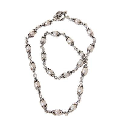 Cultured pearl beaded necklace, 'Passion Fruit' - Handcrafted Ornate Sterling Silver Cultured Pearl Necklace