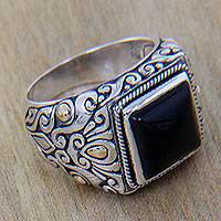 Men's gold accented onyx ring, 'Tambora'