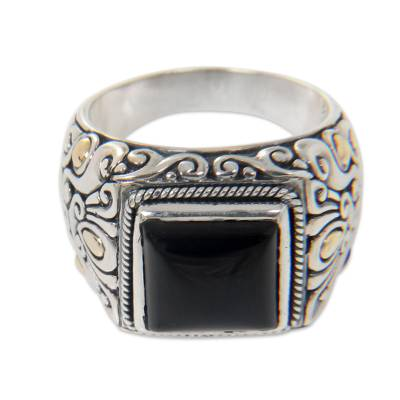 Men's gold accented onyx ring, 'Tambora' - Onyx and Gold Accented Sterling Silver Ring for Men