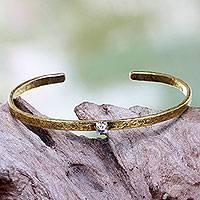 Brass cuff bracelet, 'Light Treasure' - Clear Cubic Zirconia on Antiqued Brass Cuff Bracelet