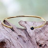 Brass cuff bracelet, 'Moonlit Minimalism' - Black Cubic Zirconia on Brass Cuff Bracelet Artisan Jewelry