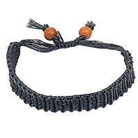 Macrame wristband bracelet, 'Braided Grey' - Indonesian Handcrafted Dark Grey Macrame Bracelet