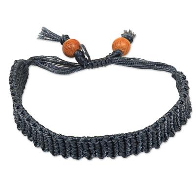 Indonesian Handcrafted Dark Grey Macrame Bracelet