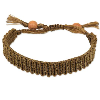 Hand Knotted Macrame Wristband Bracelet in Golden Olive