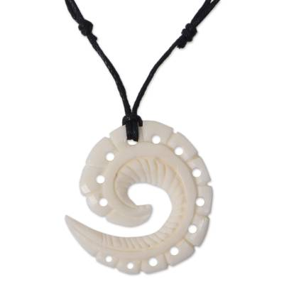 Bone Hand Carved Pendant on Cotton Necklace