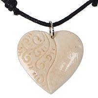 Bone pendant necklace, 'Promised Heart' - Artisan Crafted Heart Bone Pendant on Cotton Necklace
