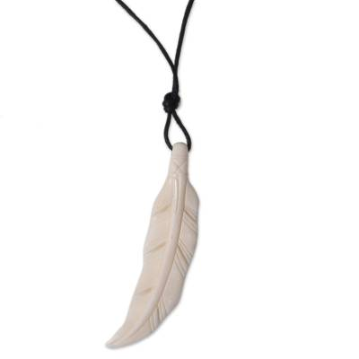 Hand Crafted Bone Pendant and Cotton Necklace