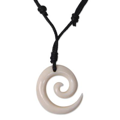 Bone pendant necklace, 'Life Awakening' - Hand Crafted Spiral Bone Pendant and Cotton Necklace