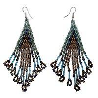 Beaded waterfall earrings, 'Mermaid Queen' - Handmade Waterfall Style Earrings with Glass Beads