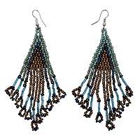 Beaded waterfall earrings, 'Mermaid Queen' - Handmade Waterfall Style Earrings with Glass Beads