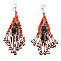 Beaded waterfall earrings, 'Samba Queen' - Orange and Bronze Glass Beaded Waterfall Earrings