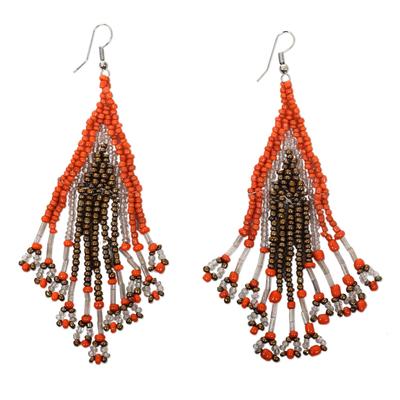 Orange and Bronze Glass Beaded Waterfall Earrings