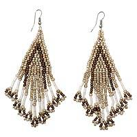 Beaded waterfall earrings, 'Dance Queen' - Beige and Brown Glass Beaded Waterfall Dangle Earrings