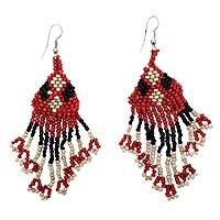 Beaded waterfall earrings, 'Rock and Roll Queen' - Long Waterfall Earrings with Black and Red Glass Beads
