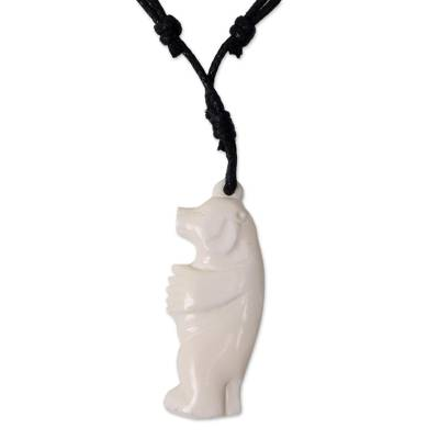 Bone pendant necklace, 'Handsome Bear' - Hand Carved Bone Bear Pendant on Cotton Necklace
