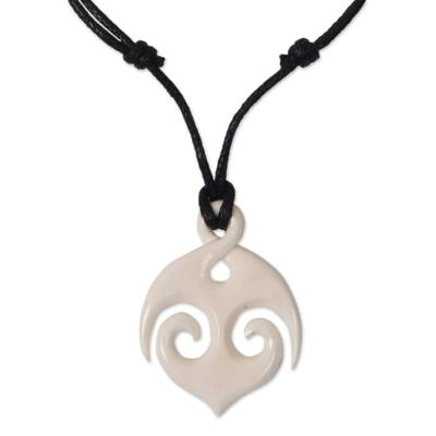Bone Anchor Hand Carved Pendant on Cotton Necklace