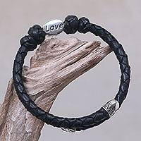 Leather and sterling silver wrap bracelet, 'Love' - Hand Braided Black Leather and Sterling Silver Love Bracelet