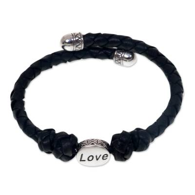 Leather and sterling silver wrap bracelet, 'Love Comes Around' - Hand Braided Black Leather and Sterling Silver Love Bracelet