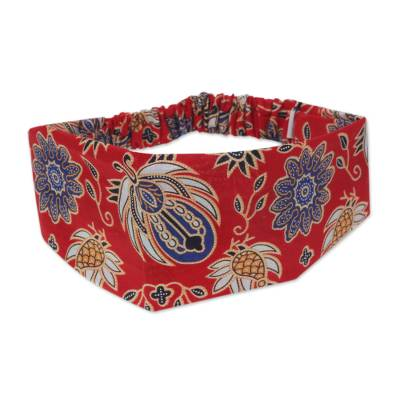 Cotton batik headband, 'Red Garuda Garden' - Hand Stamped Batik Motifs on Cotton Headband from Bali