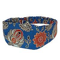 Cotton batik headband, 'Blue Garuda Garden' - Cotton Headband with Hand Stamped Batik Motifs