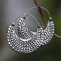 Sterling silver hoop earrings, 'Moon Sliver'