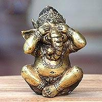 Bronze statuette, 'Ganesha Sees No Evil' - Antiqued Bronze Statuette of Hinduism Lord Ganesha